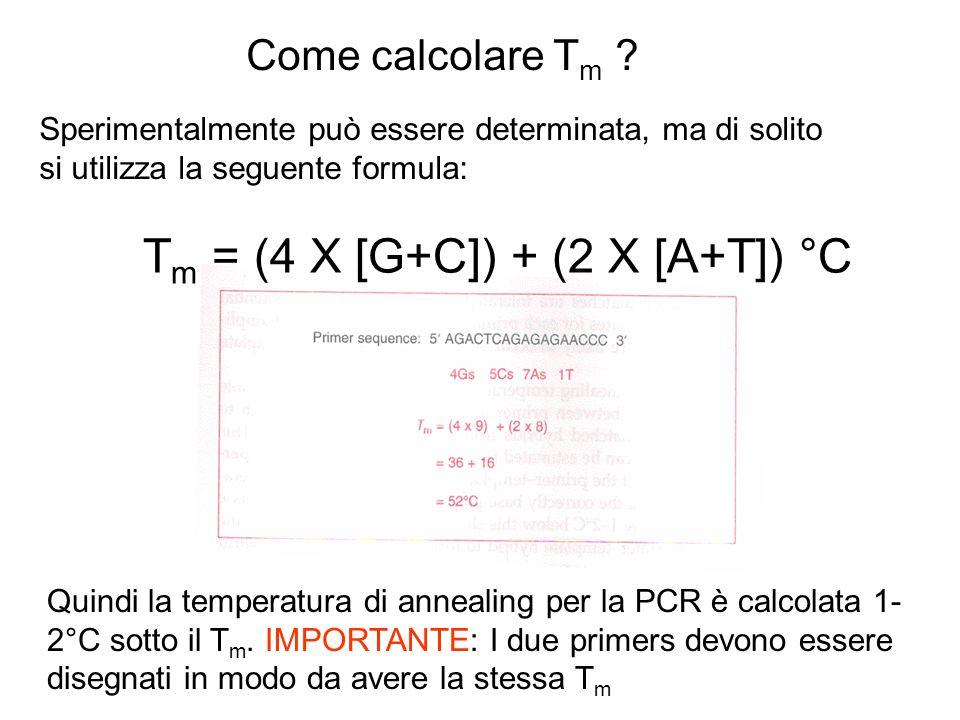 Tm = (4 X [G+C]) + (2 X [A+T]) °C
